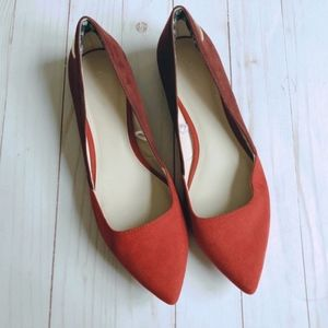 Calvin Klein Lacee Suede Pointed Toe Red Flats